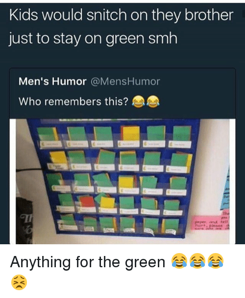 Funny, Smh, and Snitch: Kids would snitch on they brother  just to stay on green smh  Men's Humor @MensHumor  Who remembers this? Anything for the green 😂😂😂😣