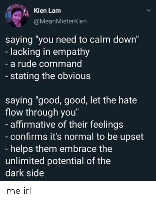 "upset: Kien Lam  @MeanMisterKien  saying ""you need to calm down""  - lacking in empathy  - a rude command  - stating the obvious  saying ""good, good, let the hate  flow through you""  - affirmative of their feelings  - confirms it's normal to be upset  - helps them embrace the  unlimited potential of the  dark side me irl"