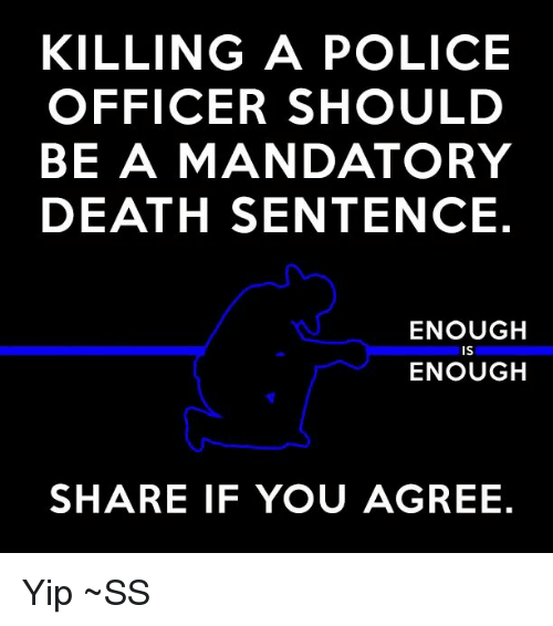 Memes, Police, and Office: KILLING A POLICE  OFFICER SHOULD  BE A MANDATORY  DEATH SENTENCE.  ENOUGH  ENOUGH  SHARE IF YOU AGREE. Yip ~SS