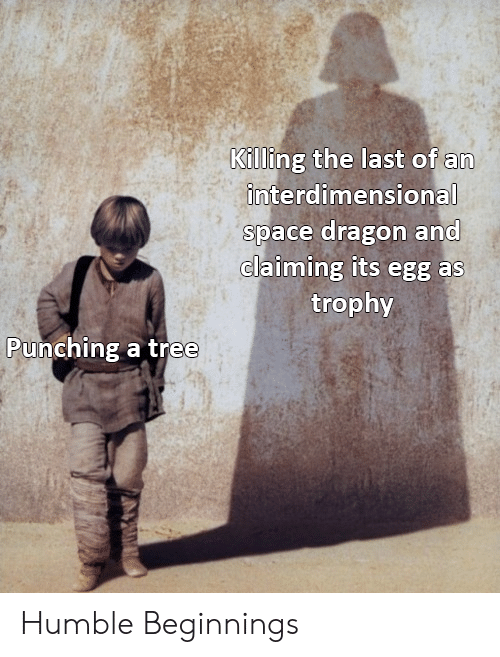 punching: Killing the last of an  interdimensional  space dragon and  claiming its egg as  trophy  Punching a tree Humble Beginnings