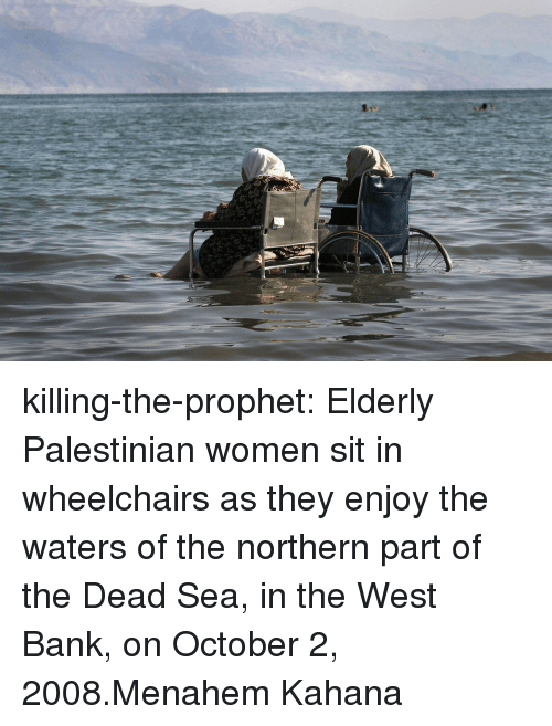 palestinian: killing-the-prophet: Elderly Palestinian women sit in wheelchairs as they enjoy the waters of the northern part of the Dead Sea, in the West Bank, on October 2, 2008.Menahem Kahana