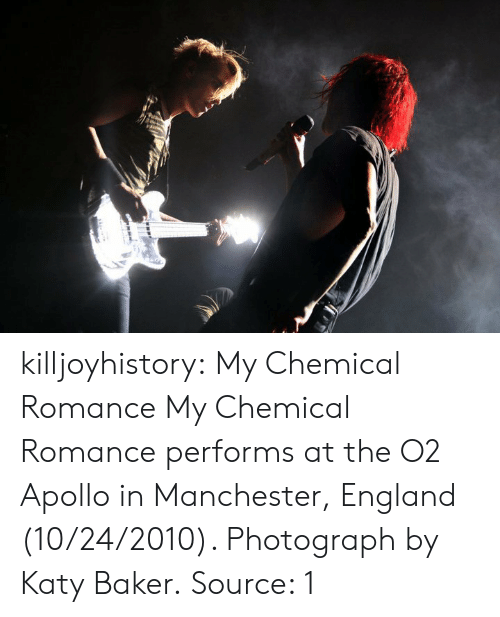 Katy: killjoyhistory: My Chemical Romance My Chemical Romance performs at the O2 Apollo in Manchester, England (10/24/2010). Photograph by Katy Baker. Source: 1
