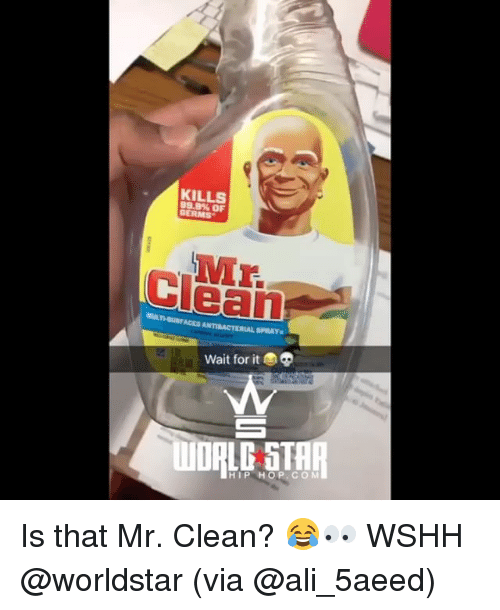 alie: KILLS  99.9% OF  GERMS  ULTHUACES ANTIBACTERIAL SPRAY  Wait for it  HIP HOP.CO M Is that Mr. Clean? 😂👀 WSHH @worldstar (via @ali_5aeed)