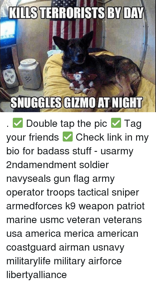 America, Guns, and Memes: KILLS TERRORISTS BY DAY  SNUGGLES GIZMO AT NIGHT . ✅ Double tap the pic ✅ Tag your friends ✅ Check link in my bio for badass stuff - usarmy 2ndamendment soldier navyseals gun flag army operator troops tactical sniper armedforces k9 weapon patriot marine usmc veteran veterans usa america merica american coastguard airman usnavy militarylife military airforce libertyalliance