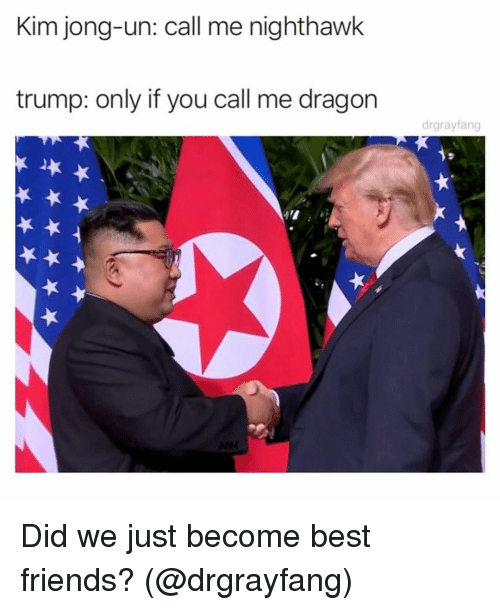 nighthawk: Kim jong-un: call me nighthawk  trump: only if you call me dragon  drgrayfang Did we just become best friends? (@drgrayfang)