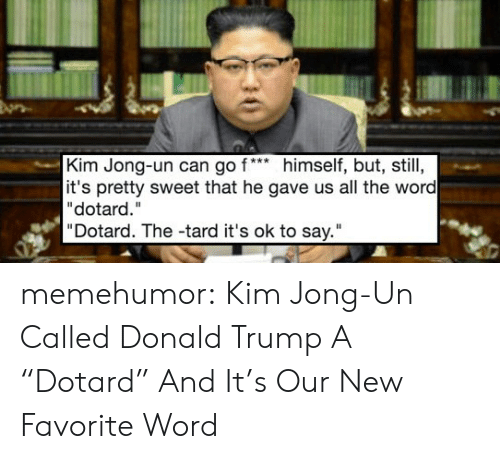 "tard: Kim Jong-un can go f*himself, but, still,  it's pretty sweet that he gave us all the word  ""dotard.""  ""Dotard. The -tard it's ok to say."" memehumor:  Kim Jong-Un Called Donald Trump A ""Dotard"" And It's Our New Favorite Word"