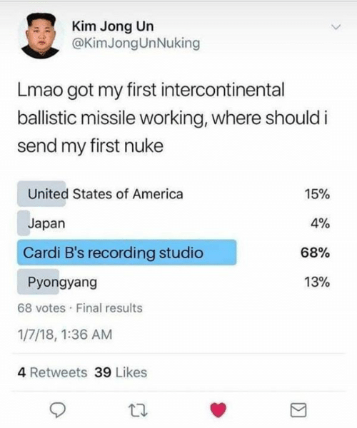 nuke: Kim Jong Un  @KimJongUnNuking  Lmao got my first intercontinental  ballistic missile working, where should i  send my first nuke  United States of America  15%  4%  Japan  Cardi B's recording studio  68%  13%  Pyongyang  68 votes Final results  1/7/18, 1:36 AM  4 Retweets 39 Likes