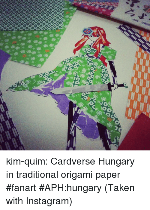 Origami: kim-quim:  Cardverse Hungary in traditional origami paper #fanart #APH:hungary (Taken with Instagram)