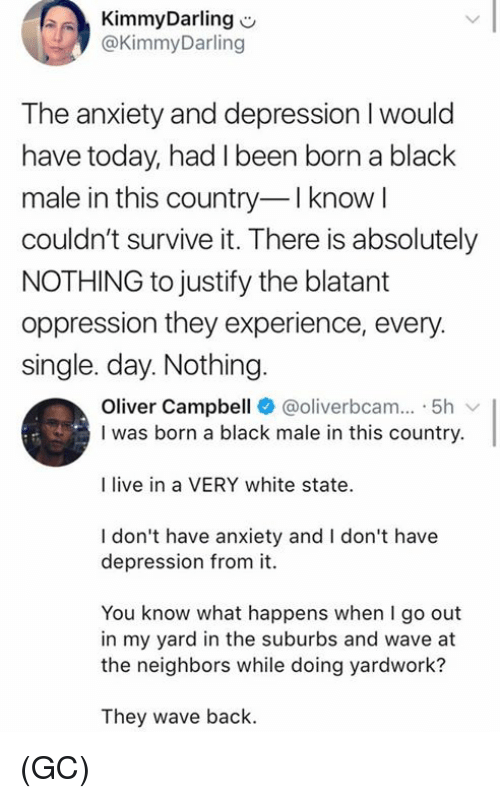 Memes, Anxiety, and Black: KimmyDarling  @KimmyDarling  The anxiety and depression I would  have today, had I been born a black  male in this country-I know l  couldn't survive it. There is absolutely  NOTHING to justify the blatant  oppression they experience, every.  single. day. Nothing  Oliver Campbell @oliverbcam.. . 5h ﹀  I was born a black male in this country.  I live in a VERY white state  I don't have anxiety and I don't have  depression from it.  You know what happens when I go out  in my yard in the suburbs and wave at  the neighbors while doing yardwork?  They wave back. (GC)