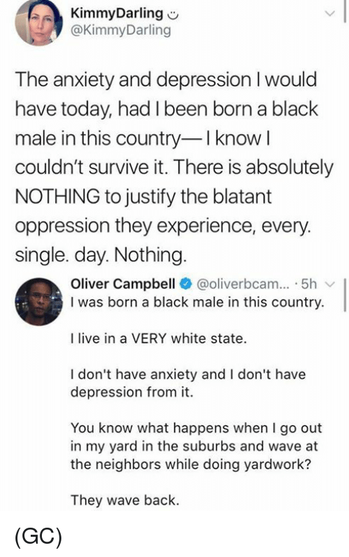 Memes, Anxiety, and Black: KimmyDarling  @KimmyDarling  The anxiety and depression I would  have today, had I been born a black  male in this country I know l  couldn't survive it. There is absolutely  NOTHING to justify the blatant  oppression they experience, every.  single. day. Nothing  Oliver Campbell @oliverbcam.. 5h  I was born a black male in this country.  I live in a VERY white state  I don't have anxiety and I don't have  depression from it.  You know what happens when I go out  in my yard in the suburbs and wave at  the neighbors while doing yardwork?  They wave back. (GC)