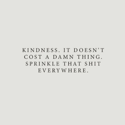 Sprinkle: KINDNESS. IT DOESN' T  COST A DAMN THING  SPRINKLE THAT SHIT  EVERY WHERE