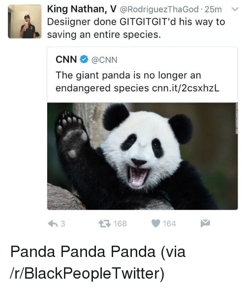 Blackpeopletwitter, cnn.com, and Desiigner: King Nathan, V @RodriguezThaGod 25m v  Desiigner done GITGITGIT'd his way to  saving an entire species.  CNN@CNN  The giant panda is no longer an  endangered species cnn.it/2csxhzL  168164 <p>Panda Panda Panda (via /r/BlackPeopleTwitter)</p>