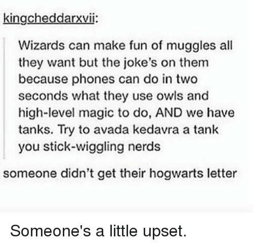 Harry Potter, Sticks, and Fun: kingcheddarxvi:  Wizards can make fun of muggles all  they want but the joke's on them  because phones can do in two  seconds what they use owls and  high-level magic to do, AND we have  tanks. Try to avada kedavra a tank  you stick wiggling nerds  someone didn't get their hogwarts letter Someone's a little upset.