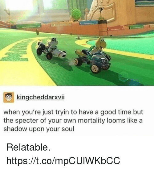 Video Games, Good, and Time: kingcheddarxviI  when you're just tryin to have a good time but  the specter of your own mortality looms like a  shadow upon your soul Relatable. https://t.co/mpCUlWKbCC