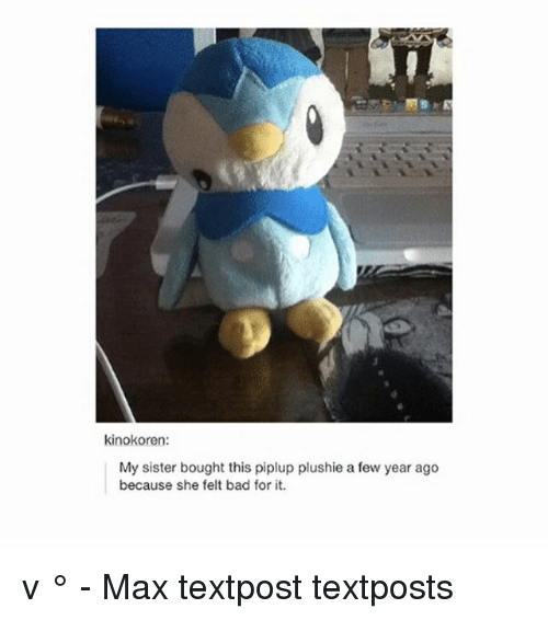 Plushie: kinokoren:  My sister bought this piplup plushie a few year ago  because she felt bad for it. 。v ° - Max textpost textposts