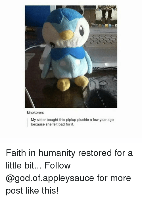 Plushie: kinokoren:  My sister bought this piplup plushie a few year ago  because she felt bad for it. Faith in humanity restored for a little bit... Follow @god.of.appleysauce for more post like this!