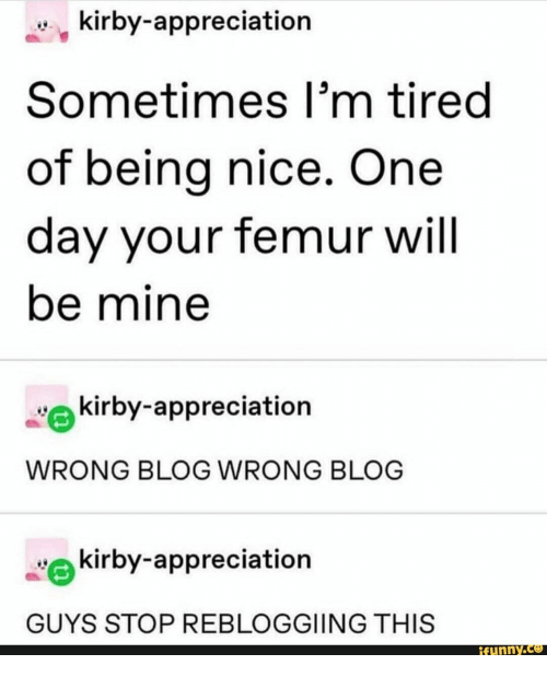 Being Nice: kirby-appreciation  Sometimes I'm tired  of being nice. One  day your femur will  be mine  kirby-appreciation  WRONG BLOG WRONG BLOG  kirby-appreciation  GUYS STOP REBLOGGIING THIS  ifunny.co
