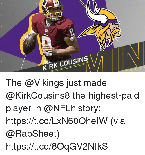 KIRK COUSIN the Just Made the Highest-Paid Player in httpstcoLxN60OheIW via Httpstco8OqGV2NIkS ...