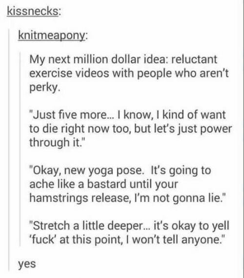 """perky: kissnecks:  knitmeapony:  My next million dollar idea: reluctant  exercise videos with people who aren't  perky.  """"Just five more... I know, I kind of want  to die right now too, but let's just power  through it.""""  """"Okay, new yoga pose. It's going to  ache like a bastard until your  hamstrings release, I'm not gonna lie.""""  """"Stretch a little deeper... it's okay to yell  'fuck' at this point, I won't tell anyone.""""  yes"""