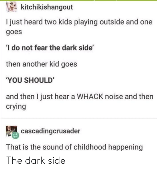 The Dark Side: kitchikishangout  I just heard two kids playing outside and one  goes  do not fear the dark side'  then another kid goes  'YOU SHOULD  and then I just hear a WHACK noise and then  crying  cascadingcrusader  That is the sound of childhood happening The dark side