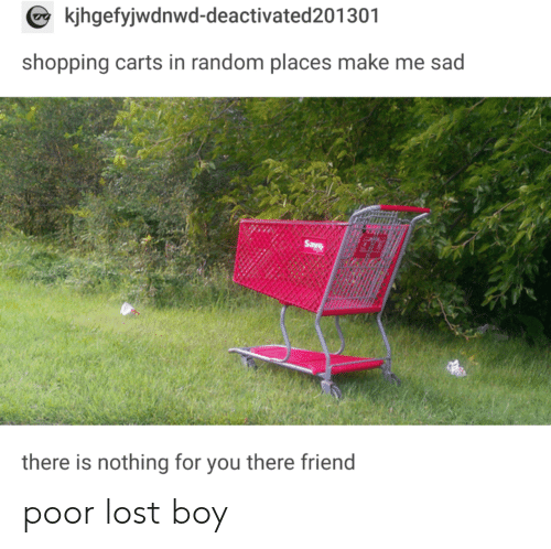carts: kjhgefyjwdnwd-deactivated201301  shopping carts in random places make me sad  there is nothing for you there friend poor lost boy