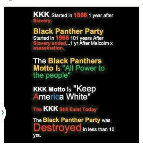 """America, Kkk, and Malcolm X: KKK started in  1866  1 year after  Slavery  Black Panther Party  Started in 1966 101 years After  Slavery ended...  yr After Malcolm x  asassination.  The Black Panthers  Motto is """"All Power to  the people""""  KKK Motto is """"Keep  America White""""  The  KKK Still Exist Today  The Black Panther Party was  Destroyed  in less than 10  yrs"""