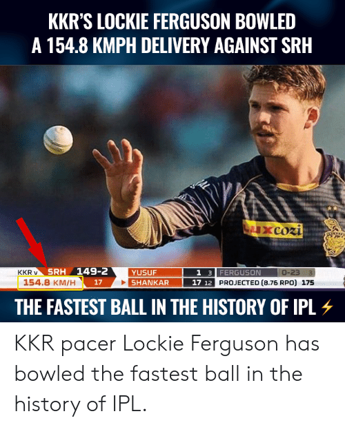 Pacer: KKR'S LOCKIE FERGUSON BOWLED  A 154.8 KMPH DELIVERY AGAINST SRH  SRH 149-2  1 3 FERGUSON  17 12 PROJECTED (8.76 RPO) 175  KKR v  YUSUF  154.8 KM/H  17  THE FASTEST BALL IN THE HISTORY OF PL KKR pacer Lockie Ferguson has bowled the fastest ball in the history of IPL.