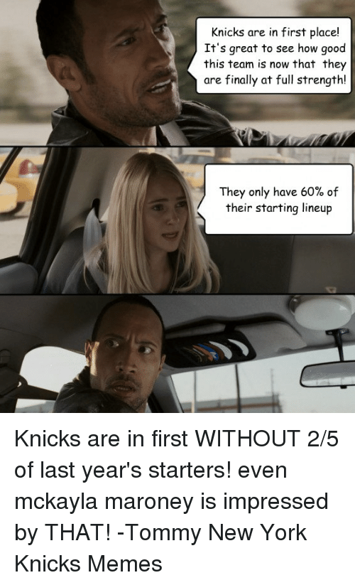 mckayla maroney: Knicks are in first place!  It's great to see how good  this team is now that they  are finally at full strength!  They only have 60% of  their starting lineup Knicks are in first WITHOUT 2/5 of last year's starters! even mckayla maroney is impressed by THAT!