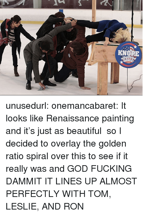 Overlay: KNORE  2012 unusedurl: onemancabaret:  It looks like Renaissance painting and it's just as beautiful  so I decided to overlay the golden ratio spiral over this to see if it really was  and GOD FUCKING DAMMIT IT LINES UP ALMOST PERFECTLY WITH TOM, LESLIE, AND RON