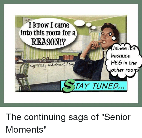 "Senior Moment: know I came  into this room for a  REASON!?  nless it's  because  HES in the  other roo  TAY TUNED... The continuing saga of ""Senior Moments"""