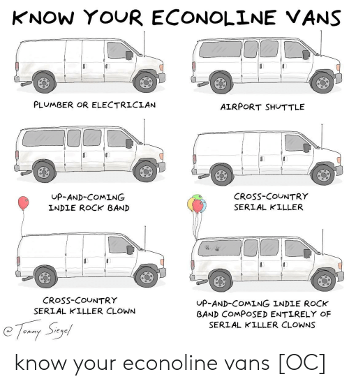 Electrician: KNOW YOUR ECONOLINE VANS  PLUMBER OR ELECTRICIAN  AIRPORT SHUTTLE  UP-AND-COMING  INDLE ROCK BAND  CRoSs-COUNTRY  SERIAL KILLER  CRosS-COUNTRY  SERIAL KILLER CLOWN  UP-AND-COMING INDLE ROCK  BAND COMPOSED ENTIRELY OF  SERIAL KILLER CLOWNS know your econoline vans [OC]