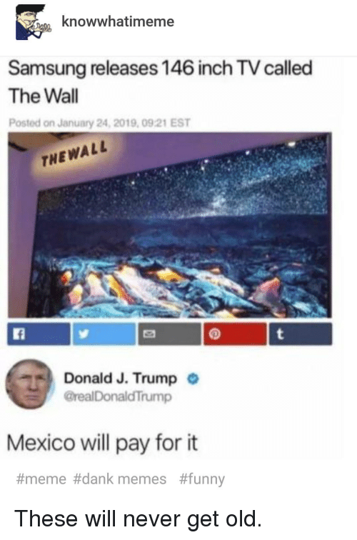 Dank Memes Funny: knowwhatimeme  Samsung releases 146 inch TV called  The Wall  Posted on January 24, 2019, 0921 EST  THEWALL  Donald J. Trump  @realDonaldTrump  .  Mexico ll pay for it  #meme#dank memes  These will never get old.