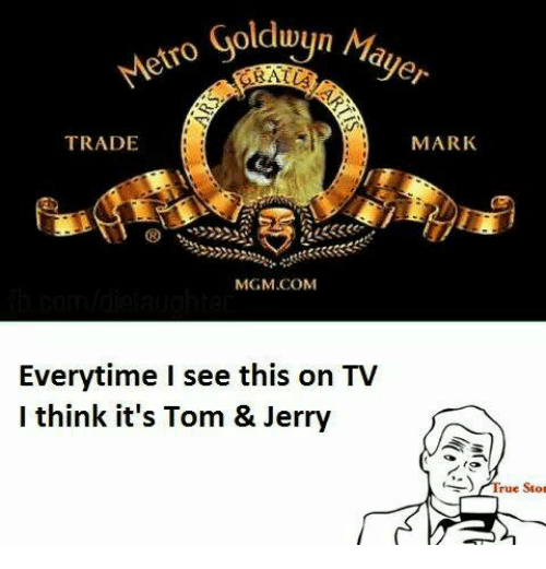 Tom & Jerry: ko Goldwyn Ma  ayer  TRADE  MARK  MGM COM  Everytime I see this on TV  I think it's Tom & Jerry  rue stor