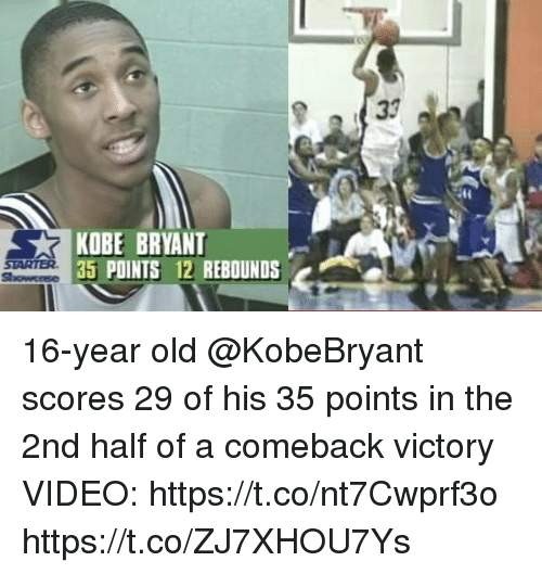 Kobe Bryant, Memes, and Kobe: KOBE BRYANT  35 PDINTS 12 REBOUNDS 16-year old @KobeBryant scores 29 of his 35 points in the 2nd half of a comeback victory  VIDEO: https://t.co/nt7Cwprf3o https://t.co/ZJ7XHOU7Ys