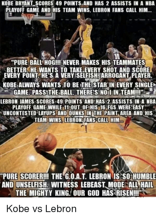 """nba playoff: KOBE BRYANT SCORES 49 POINTS AND HAS 2 ASSISTS IN A NBA  PLAYOFF GAME AND HIS TEAM WINS, LEBRON FANS CALL HIM...  """"PURE BALL HOG!!! NEVER MAKES HIS TEAMMATES  3BETTER HE WANTS TO TAKE.EVERY SHOT AND SCORE  EVERY POINT HE'S A VERYSSELFISHNARROGANT PLAYER.  KOBE ALWAYS WANTS TO BE THE STAR IN EVERY SINGLE  GAME. PASS THE BALL, THERES NO IiIN TEAM!!!""""  LEBRON JAMES SCORESY49 POINTS AND HAS 22 ASSISTS IN A NBA  PLAYOFF GAMENWHILE 11MOUT OF HIS 16 FGS WERE EASY  UNCONTESTED LAYUPS AND DUNKS IN THE PAINT AREA AND HIS  TEAM WINS LEBRON FANS CALL HIM  """"PURE SCORER!!! THE G.O.A.T LEBRON IS SO HUMBLE  AND UNSELFISH. WITNESSLEBEAST MODE ALL HAIL  THE MIGHTY KING. OUR GOD HAS RISEN!!!"""" Kobe vs Lebron"""