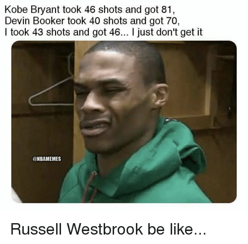 Be Like, Kobe Bryant, and Nba: Kobe Bryant took 46 shots and got 81  Devin Booker took 40 shots and got 70,  I took 43 shots and got 46... I just don't get it  @NBAMEMES Russell Westbrook be like...