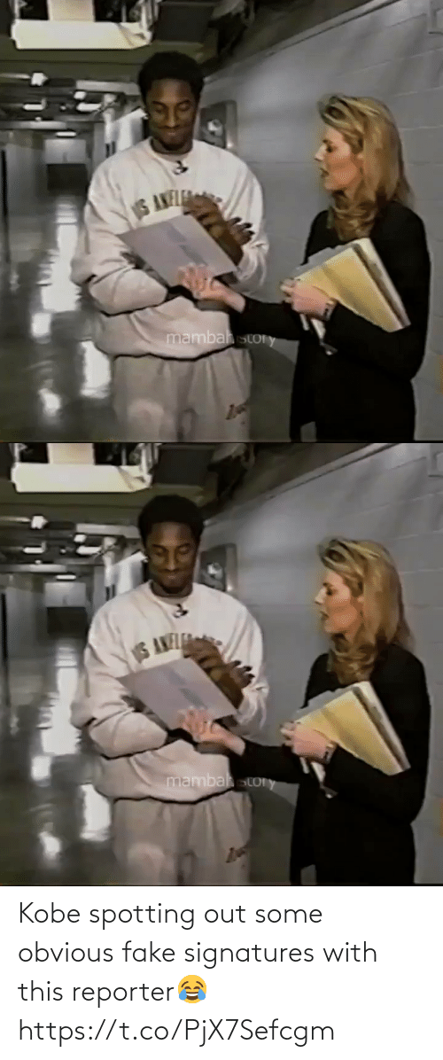 fake: Kobe spotting out some obvious fake signatures with this reporter😂 https://t.co/PjX7Sefcgm