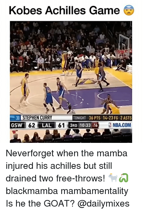 Achille: Kobes Achilles Game  ®  30 STEPHEN CURRY  TONIGHT 36 PTS 14-23 FG 2 ASTS  GSW 62 LAL 61 3RD 10:33 16 3 NBA.COM Neverforget when the mamba injured his achilles but still drained two free-throws! 🐐🐍 blackmamba mambamentality Is he the GOAT? @dailymixes
