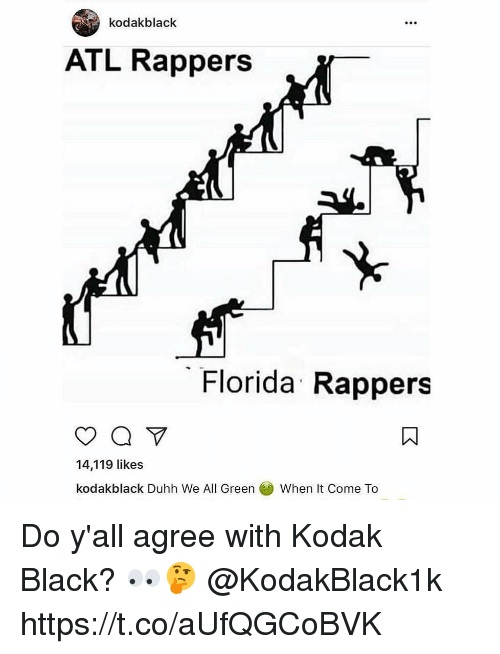 Black, Florida, and Rappers: kodakblack  005  ATL Rappers  Florida Rappers  14,119 likes  kodakblack Duhh We All GreenWhen It Come To Do y'all agree with Kodak Black? 👀🤔 @KodakBlack1k https://t.co/aUfQGCoBVK