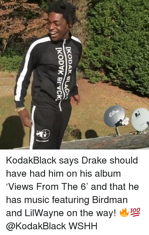 Birdman, Drake, and Memes: KodakBlack says Drake should have had him on his album 'Views From The 6' and that he has music featuring Birdman and LilWayne on the way! 🔥💯 @KodakBlack WSHH