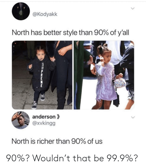Supreme: @Kodyakk  North has better style than 90% of y'all  anderson  @xvkingg  North is richer than 90% of us  SUPREME 90%? Wouldn't that be 99.9%?