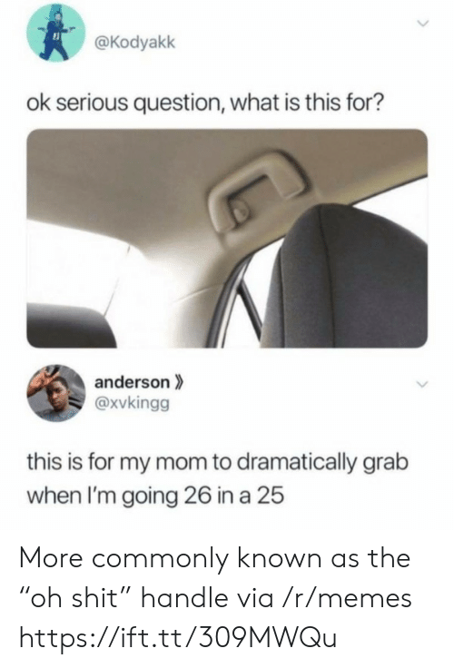 """anderson: @Kodyakk  ok serious question, what is this for?  anderson  @xvkingg  this is for my mom to dramatically grab  when I'm going 26 in a 25  > More commonly known as the """"oh shit"""" handle via /r/memes https://ift.tt/309MWQu"""