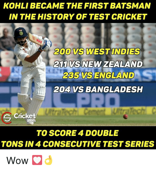 Memes, New Zealand, and 🤖: KOHLI BECAME THE FIRST BATSMAN  IN THE HISTORY OF TEST CRICKET  200 VS WEST INDIES  VS NEW ZEALAND  2C5 VSS ENGLAND  204 VS BANGLADESH  e cricket  TO SCORE 4 DOUBLE  TONS IN 4 CONSECUTIVE TEST SERIES Wow 💟👌