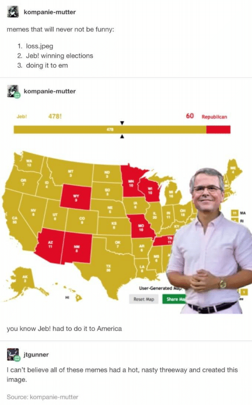 Elections: kompanie-mutter  memes that will never not be funny:  1. loss.jpeg  2. Jeb! winning elections  3. doing it to em  kompanie-mutter  478  60 Republican  Jeb  478  WA  MT  NO  OR  MN  10  A  11 MA  20  RI  MO  KY  TN  11  AR  User-Generated Map  Share Ma  Reset Map  you know Jeb! had to do it to America  jtgunner  I can't believe all of these memes had a hot, nasty threeway and created this  image  Source: kompanie-mutter