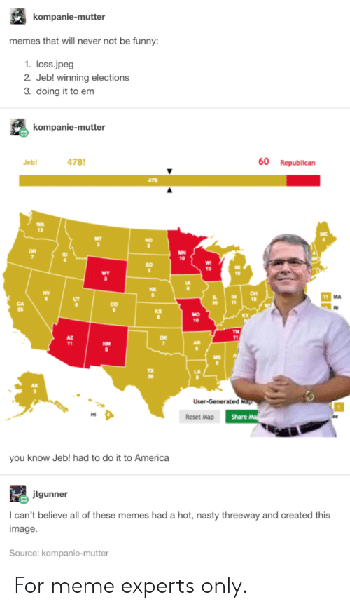 nasty: kompanie-mutter  memes that will never not be funny:  1. loss.jpeg  2. Jeb! winning elections  3. doing it to em  kompanie-mutter  478  60  Republican  Jeb!  478  MN  10  10  wY  OH  18  11  CO  KS  MO  10  TN  11  NM  User-Generated Map  Share M  Reset Map  you know Jeb! had to do it to America  jtgunner  I can't believe all of these memes had a hot, nasty threeway and created this  image  Source: kompanie-mutter  80 For meme experts only.