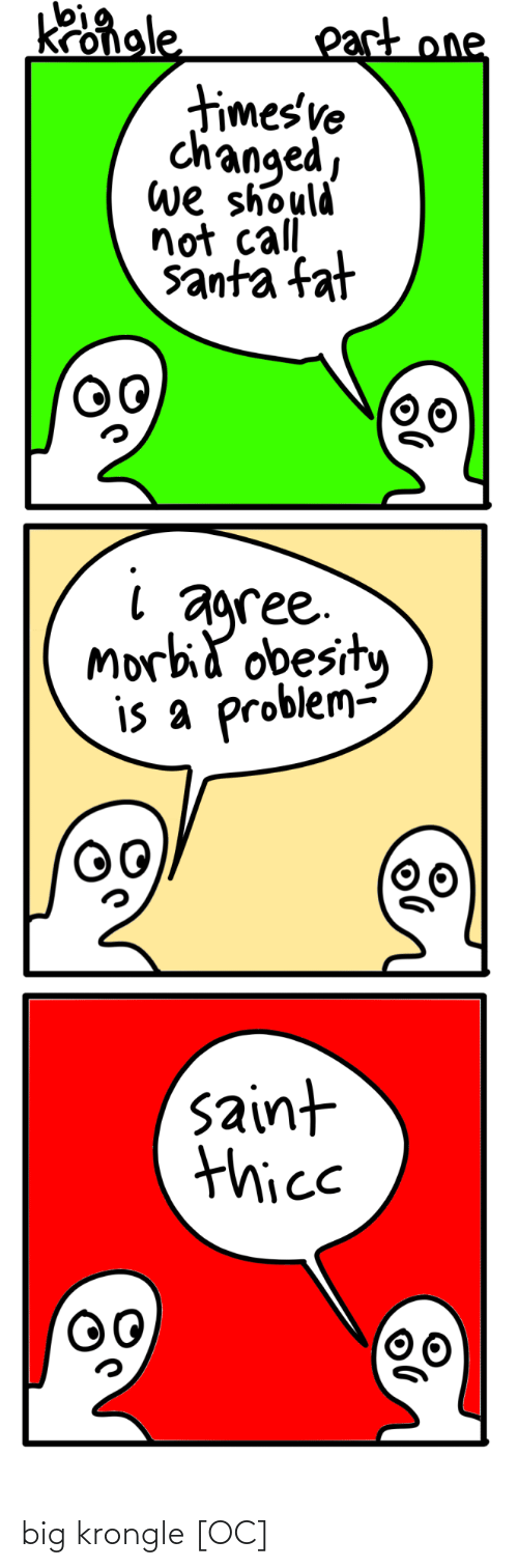 obesity: Kongle  part one  timesve  changed,  we should  not call  santa fat  agree.  Morbid obesity  is a problem-  saint  thice big krongle [OC]