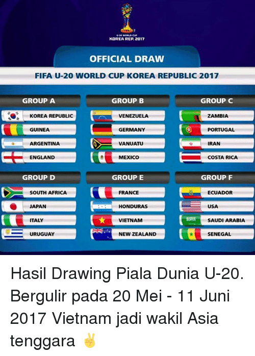 Memes, 🤖, and Usa: KOREA REP 2017  OFFICIAL DRAW  FIFA U-20 WORLD CUP KOREA REPUBLIC 2017  GROUP A  GROUP B  GROUP C  KOREA REPUBLIC  ZAMBIA  VENEZUELA  C GUINEA  GERMANY  PORTUGAL  ARGENTINA  VANUATU  IRAN  C ENGLAND  ra MEXICO  COSTA RICA  GROUP E  GROUP D  GROUP F  SOUTH AFRICA  FRANCE  ECUADOR  HONDURAS  USA  SAUDIARABIA  ITALY  VIETNAM  SE URUGUAY  NEW ZEALAND  SENEGAL Hasil Drawing Piala Dunia U-20. Bergulir pada 20 Mei - 11 Juni 2017 Vietnam jadi wakil Asia tenggara ✌