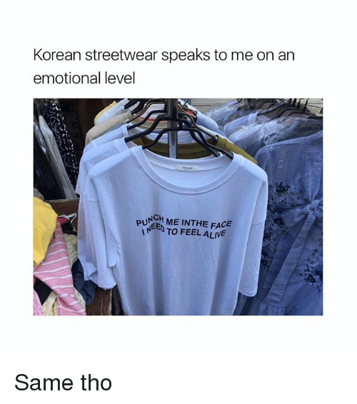 Alive, Girl Memes, and Korean: Korean streetwear speaks to me on an  emotional level  PUNCH ME THE FACE  TO FEEL ALIVE Same tho