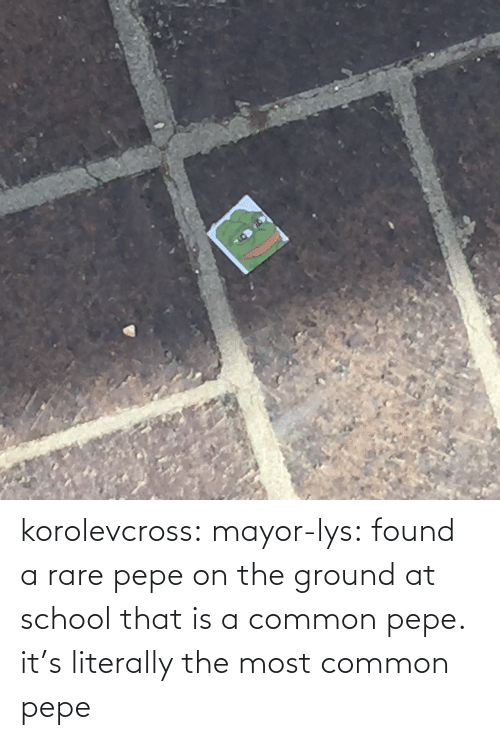 Rare Pepe: korolevcross:  mayor-lys:  found a rare pepe on the ground at school  that is a common pepe. it's literally the most common pepe