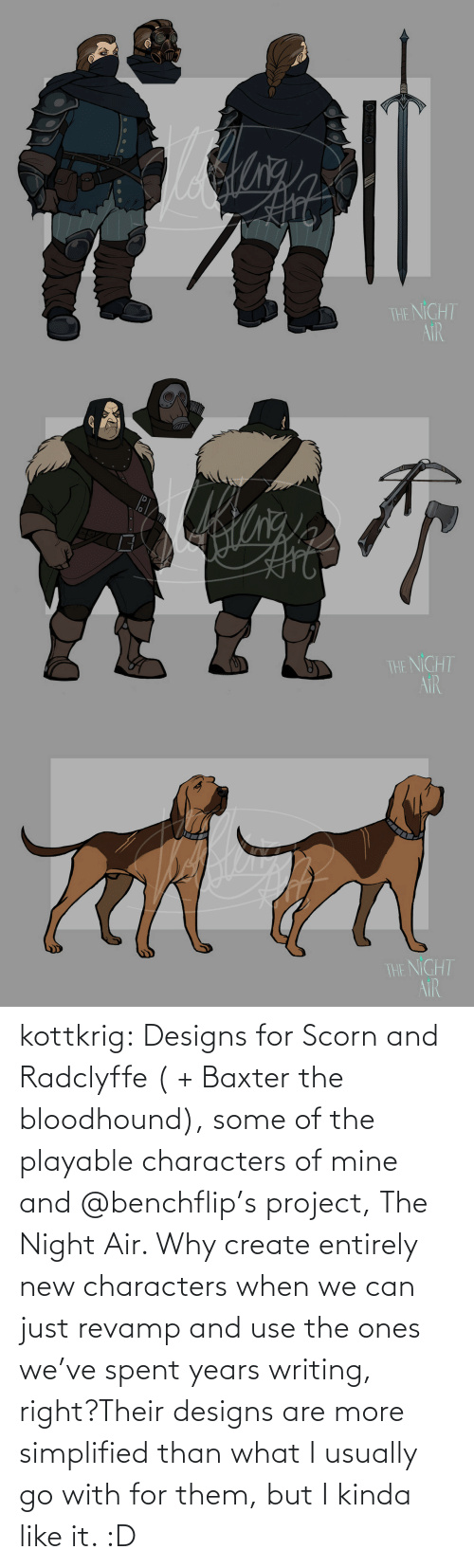 create: kottkrig:  Designs for Scorn and Radclyffe ( + Baxter the bloodhound), some of the playable characters of mine and @benchflip's project, The Night Air. Why create entirely new characters when we can just revamp and use the ones we've spent years writing, right?Their designs are more simplified than what I usually go with for them, but I kinda like it. :D